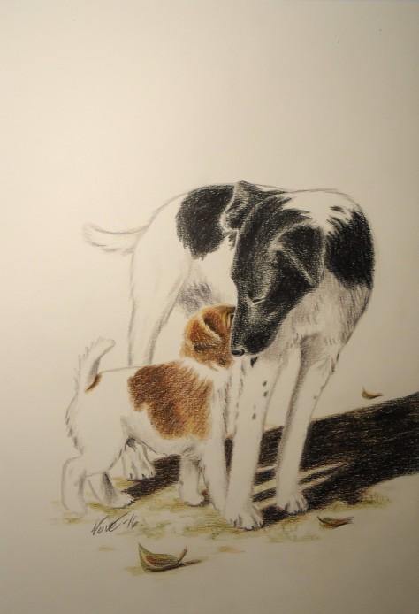 """""""Far og sønn"""" (Glatthåret fox terrier """"Solan"""" med sønnen """"Lusian"""")"""