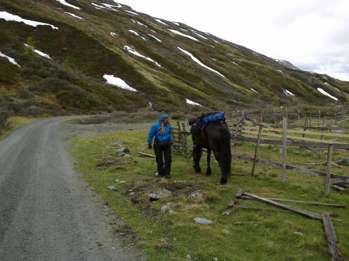 Tonje og Frøya på vei ned fra Ryphusan mot Oppdal.