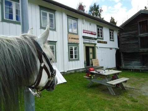 Kaffepause utenfor pilegrimsmuseet på Rennebu.