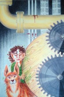 """""""Natur i en mekanisk verden"""", 2005. Fargeblyant 35x55 cm. TIL SALGS. Uten ramme kr. 4800,-"""