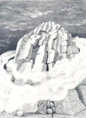 """""""Eremittfjellet"""". Blyant, 1989. Noe større enn A4 format. Til slags kr. 2800,- uten ramme. Inkl. ramme 3800,-"""
