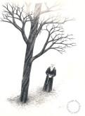 """""""Syngende munk"""". Blyant, 1989. Noe større enn A4 format. Til slags kr. 2800,- uten ramme. Inkl. ramme 3800,-"""