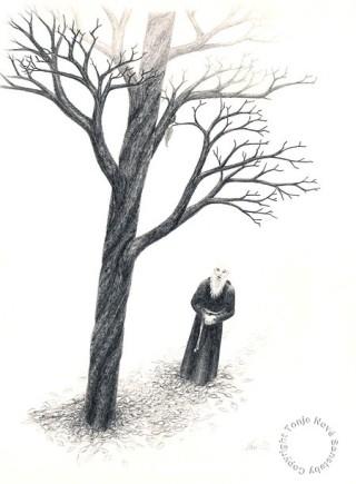 """""""Syngende munk"""". Blyant, 1989."""