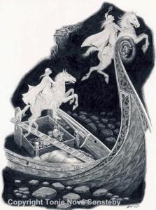 """""""Vikinggrav"""". Blyant, 1989. Noe større enn A4 format. Til slags kr. 3500,- uten ramme. Inkl. ramme 4500,-"""
