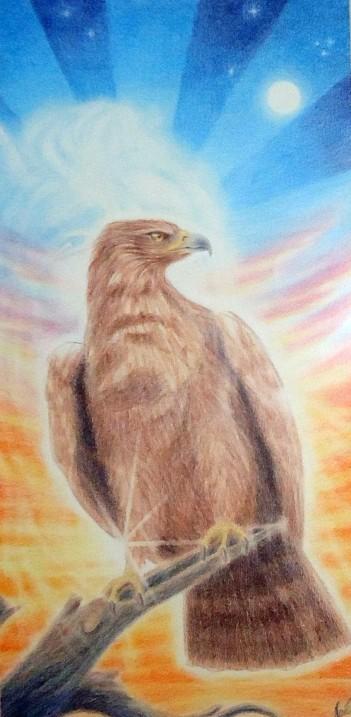 """""""Ørnen og indianeren"""". Fargeblyant, 1998. Tegningenmåler 31x59 cm. Ytre mål på ramme 46x76 cm. Til salgs kr. 7800,- uten ramme, 8.500,- inkl. ramme."""