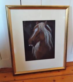 """Hest med bart"". Oljepastell. Ca A4 format. Pris inkl. ramme 1900,-"