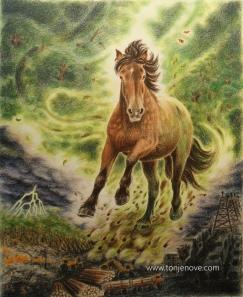 """""""Nature allways wins - in the end"""" - Naturen tar tilbake... Fargeblyant, 48 x 60 cm."""
