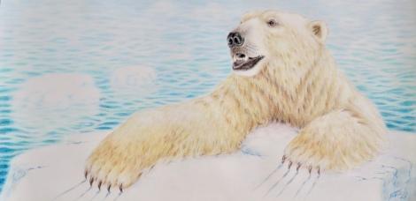 """""""Den siste isen"""" fargeblyant, 88 x 44 cm."""