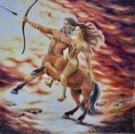 """""""Rødhette og ulven"""" - fargeblyant, 57 x 57 cm."""